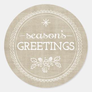 Modern Season's Greetings Burlap Christmas Sticker