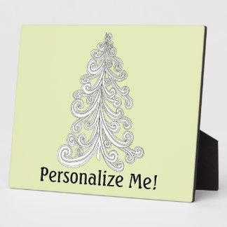 Modern Seasons Greetings Christmas Tree Plaque