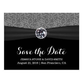 Modern Sequin Silver Glitter Wedding Save the Date Postcard