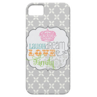 Modern Shabby Chic Laugh Dream Love & Family Gray iPhone 5 Cover