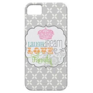 Modern Shabby Chic Laugh Dream Love & Family Gray iPhone SE/5/5s Case