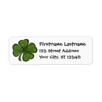 Modern Shamrock with return address Label