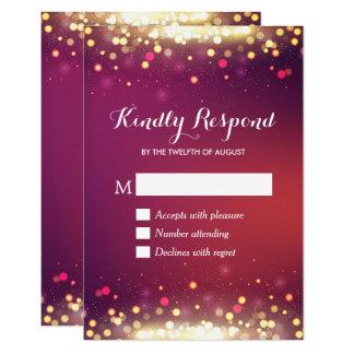 Modern Shimmer Gold Glitter Dots RSVP Respond Card