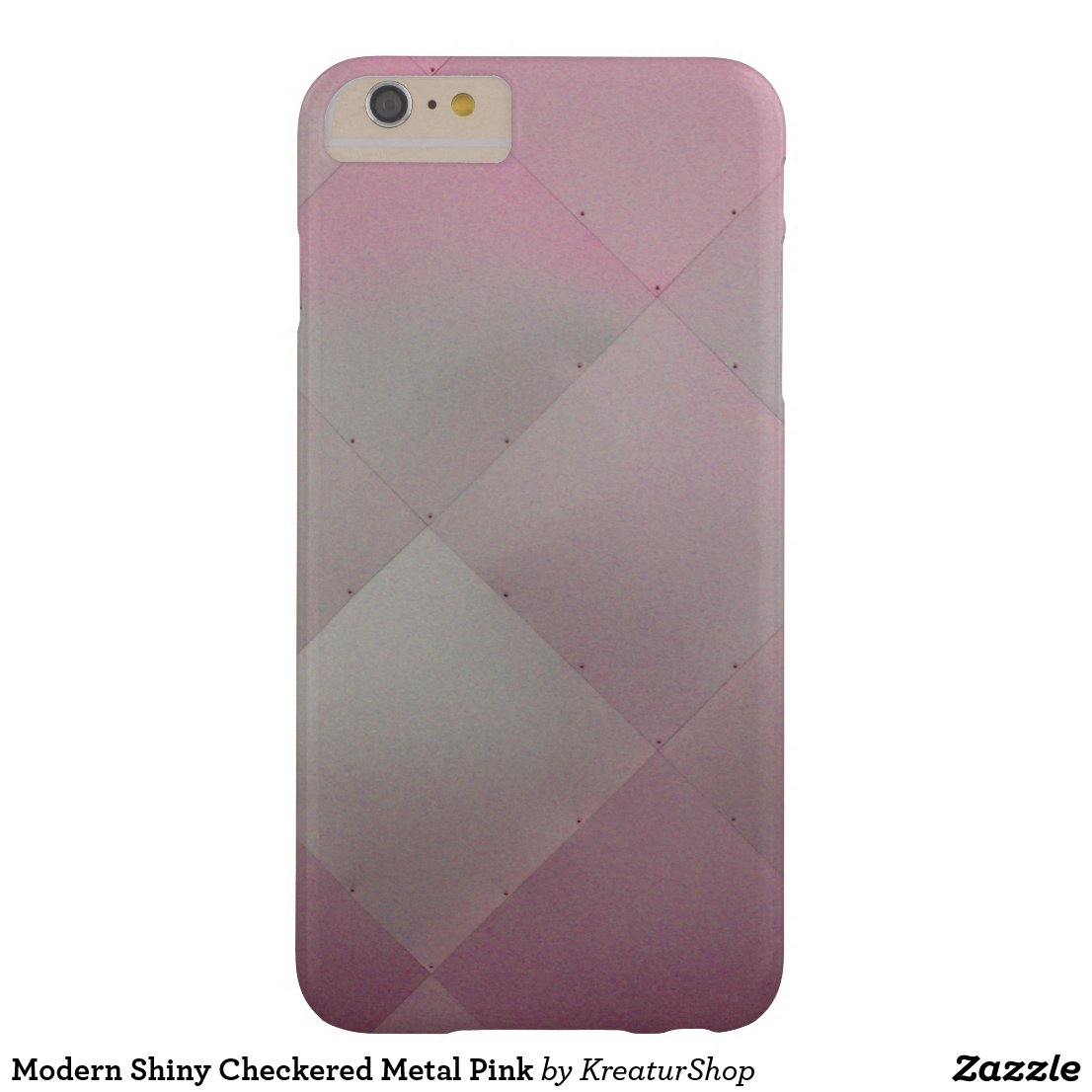 Modern Shiny Checkered Metal Pink