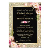 Modern Shiny Gold Sparkles Floral Wedding Invite