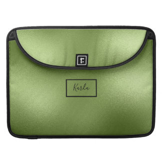 Modern Shiny Green Abstract Background Monogram Sleeve For MacBooks