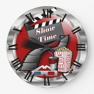 Modern Showtime Movie Theater Large Clock