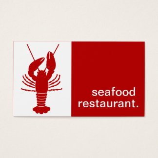 Modern Silhouette Seafood Restaurant | red white Business Card