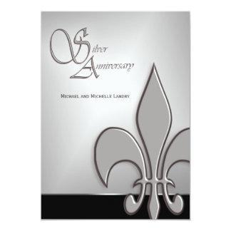 Modern Silver Anniversary Fleur de Lis Card