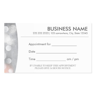 Modern Silver Appointment Business Card