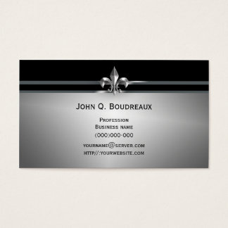 Modern Silver Black Fleur de Lis Business Card