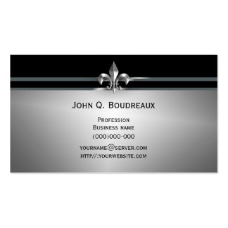 Modern Silver Black Fleur de Lis Double-Sided Standard Business Cards (Pack Of 100)