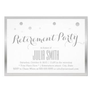 Modern Silver Confetti Dots Retirement Party Card