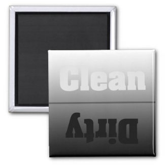 Modern Silver Dirty Clean Magnet magnet
