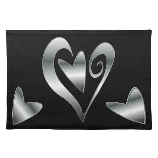 Modern Silver effect Hearts design on black Placemat