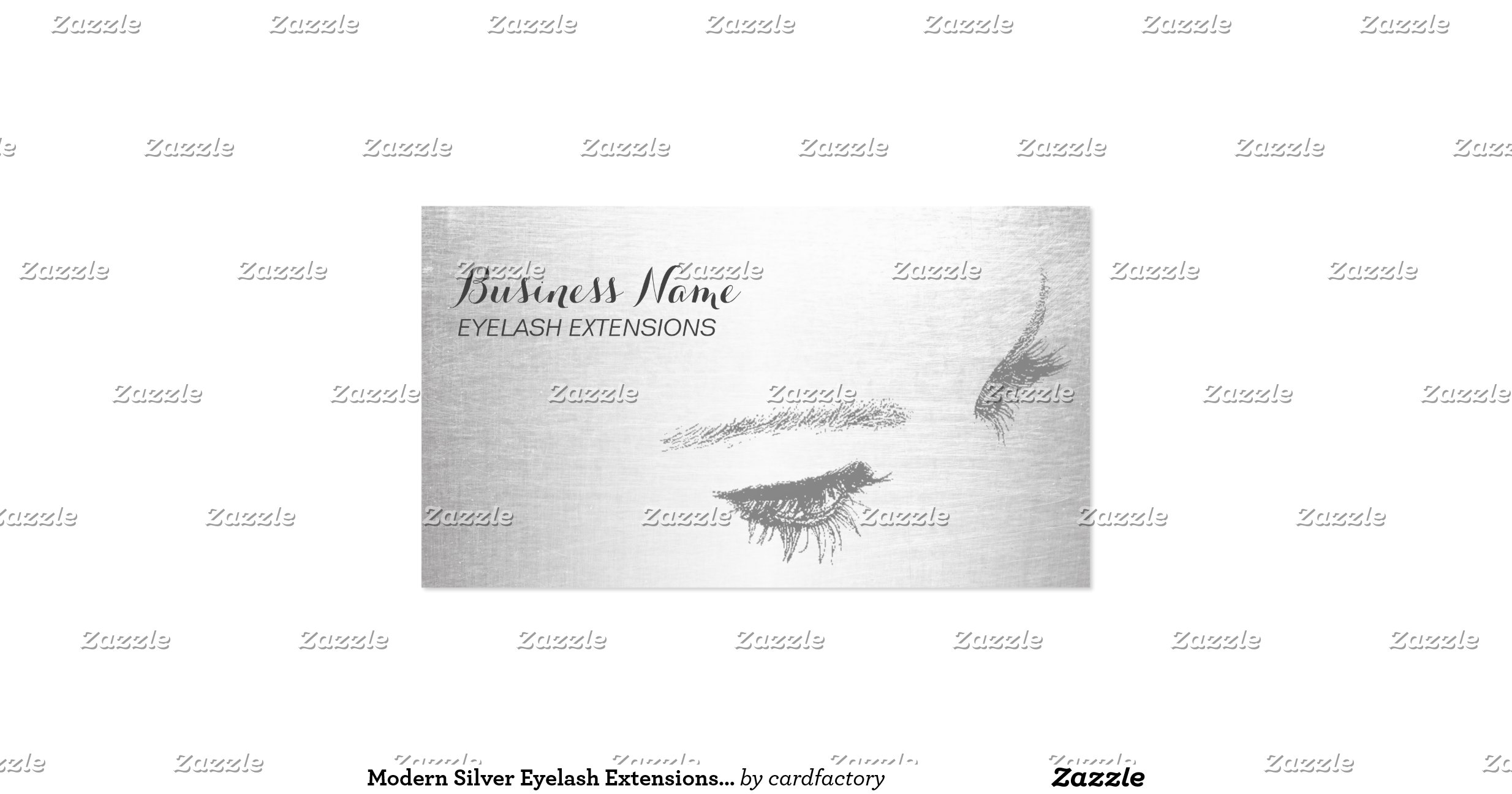 modern silver eyelash extensions business card