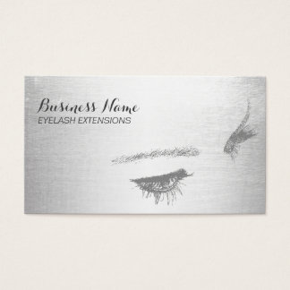 Modern Silver Eyelash Extensions Lashes Business Card