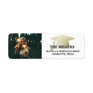 Modern Silver Faux Foil Graduation Hat Photo Label