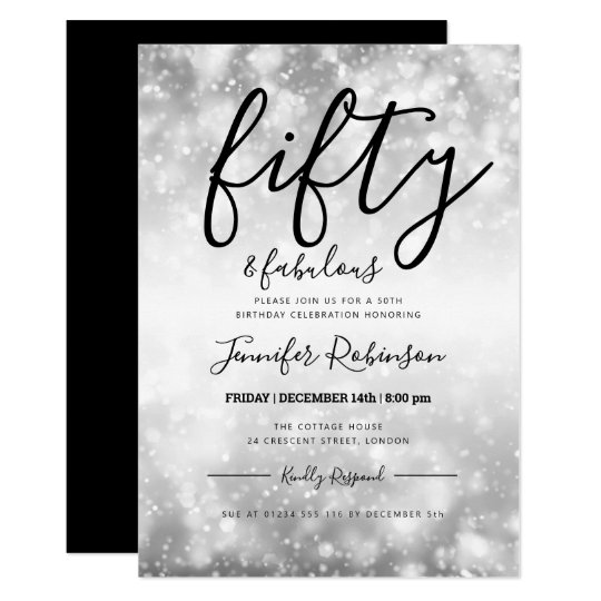 Modern Silver Fifty Fabulous 50th Birthday Invitation