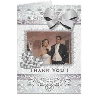 Modern Silver Floral Damask Bow Cards