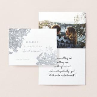 Modern silver foil floral bridesmaid photo foil card