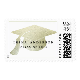 Modern Silver Foil Graduation Hat Class Of 2016 Postage Stamp