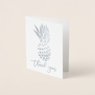 Modern silver foil thank you typography pineapple foil card