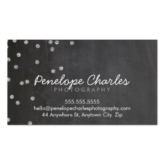 MODERN silver glitter confetti dots chalkboard Business Card Template