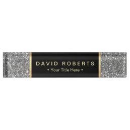 Modern Silver Glitter Elegant Black Label Desk Name Plate