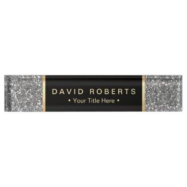 Lawyer Themed Modern Silver Glitter Elegant Black Label Desk Name Plate