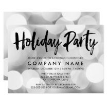 Modern Silver Glitter Lights Holiday Party Card