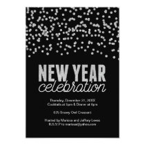 Modern Silver Glitter New Years Party Invitation