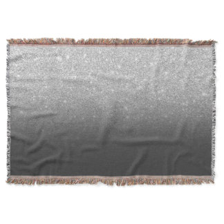 Modern silver glitter ombre grey black throw blanket