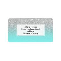 Modern silver glitter ombre teal ocean label