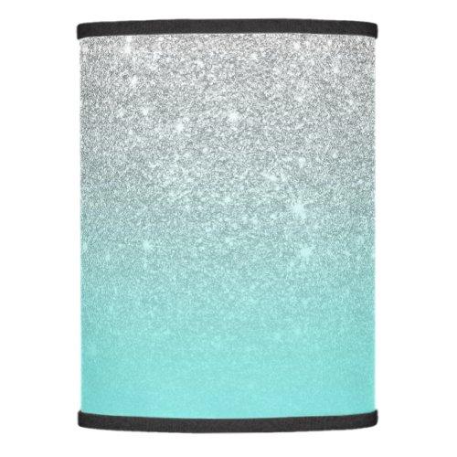 Modern silver glitter ombre teal ocean lamp shade