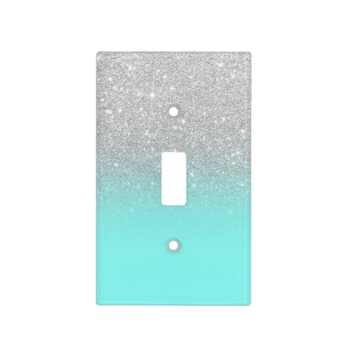 Modern Silver Glitter Ombre Teal Ocean