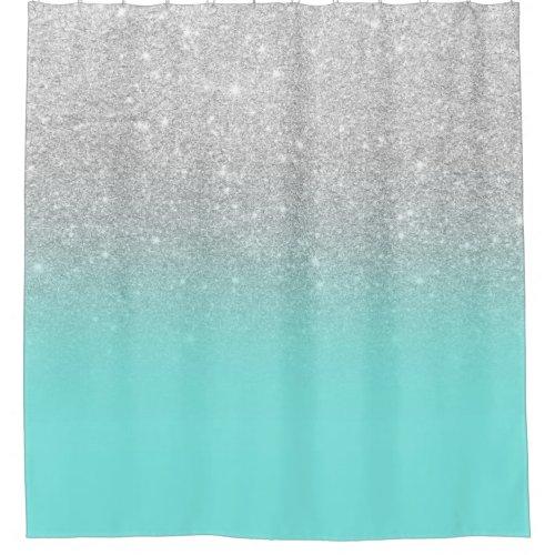 Modern silver glitter ombre teal ocean shower curtain