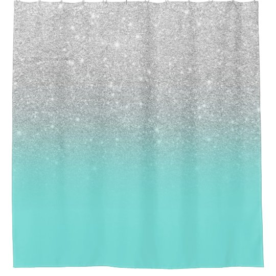 Modern silver glitter ombre teal ocean shower curtain  94507cc96e02e