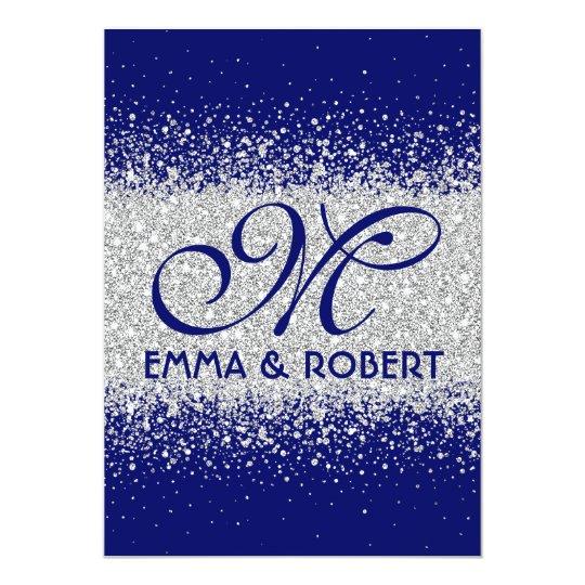 Modern Silver Glitter On Royal Blue Invitation