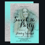 "Modern silver glitter teal aqua photo Sweet 16 Invitation<br><div class=""desc"">A modern,  pretty faux silver glitter shower ombre with teal aqua color block Sweet 16 birthday party invitation with your custom photo with gold ombre pattern fading onto a teal background. Perfect for a princess Sweet sixteen,  perfect  for her,  the fashionista who loves modern pattern and glam</div>"