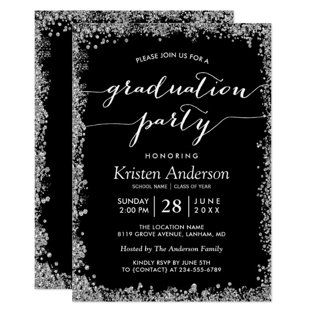 Modern Silver Glitters Typography Graduation Party Card