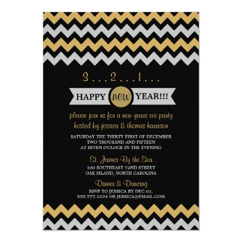 Modern Silver & Gold Chevron New Years Eve Party 5x7 Paper Invitation Card