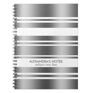 Modern Silver Gray And White Stripes Pattern Notebook