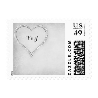Modern Silver & Gray Bling Heart Initials Postage