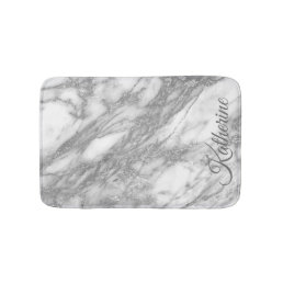 Modern Silver Marble Texture With Your Name Bathroom Mat