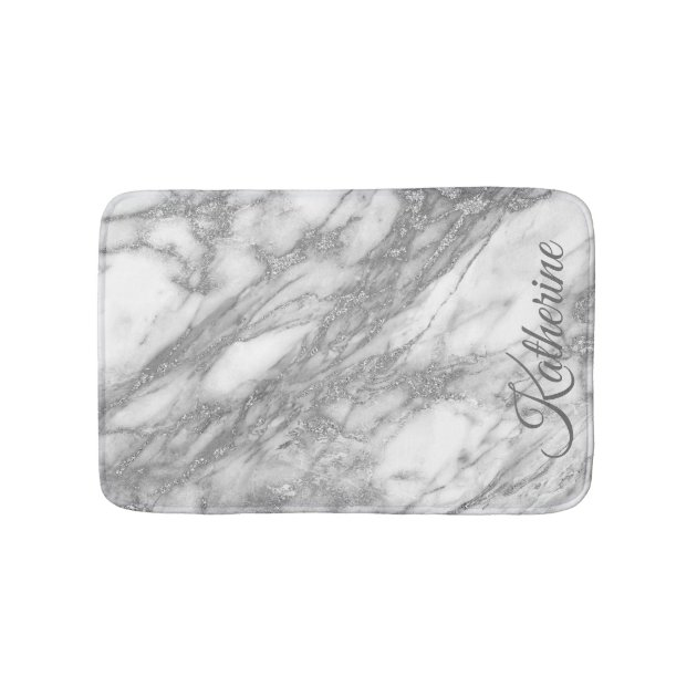 Modern Silver Marble Texture With Your Name Bathroom Mat Zazzle Com