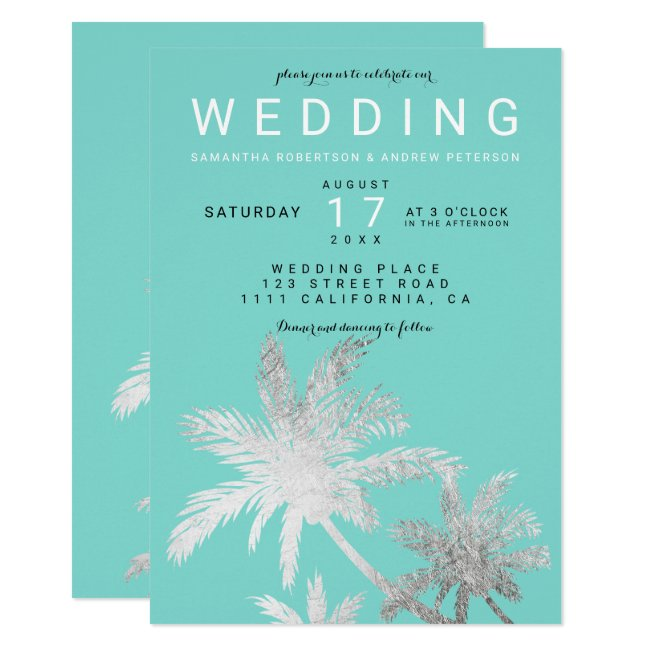 Modern silver palm trees teal elegant wedding invitation