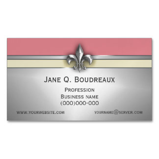 Modern Silver Pink Yellow Fleur de Lis Magnetic Business Cards (Pack Of 25)