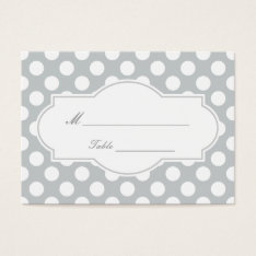Modern Silver Polka Dots Wedding Place Card at Zazzle