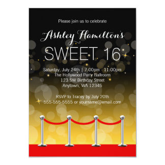 Modern Silver Red Carpet Hollywood Sweet 16 Card